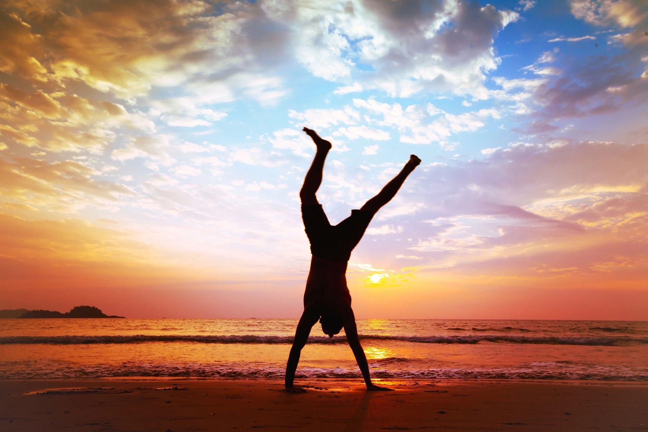 Overcoming anxiety, cartwheel on the beach